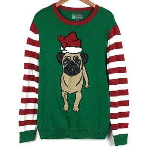 ugly christmas sweater sweaters ugly christmas sweater mens large dog striped red - Large Dog Christmas Sweaters